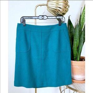 Talbots Turquoise Blue Wool Pocket Skirt Size 4
